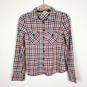 Krazy Kai Multicolored Gingham Button Up Flannel